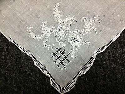 12 Pieces White Hand Embroidered Fine Linen Handkerchief Hankie Bridal Wedding