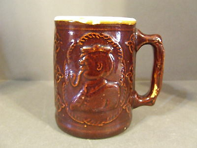 Antique Burley Winter Heart Brand Windmill, Captain, Brown Glaze Stoneware Mug