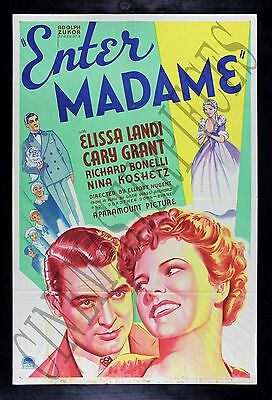 ENTER MADAME * Vintage Hollywood CARY GRANT ELISSA LANDI RARE MOVIE POSTER 1935