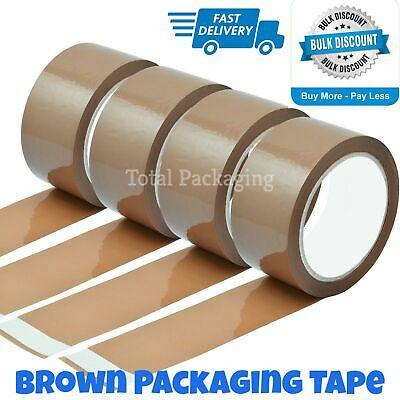 Brown Parcel Packaging Tape Sellotape Strong Big Rolls -  48mm x 66m High Tack