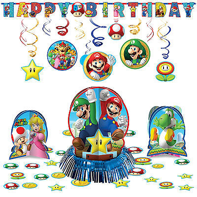 Super Mario Bros Hanging Childrens Birthday Party Pack Decoration Kit
