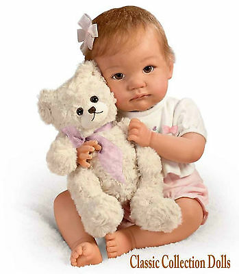 "Ashton Drake ""I PROMISE TO LOVE YOU,TEDDY"" - LIFELIKE POSEABLE BABY DOLL - NEW"