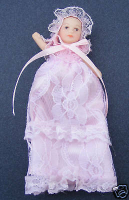 1:12 Scale Baby Dolls House Miniature In A Long Pink Gown Nursery Accessory