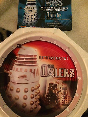 Doctor Who  limited edition white  dalek  collectors plate