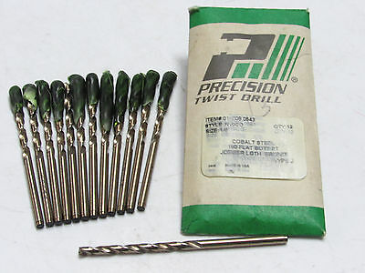 "6 new PTD Precision 1/8"" R10CO Cobalt Steel Twist Drill Bits 180*PT #10308"