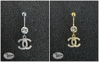 Dangle Belly Button Naval Ring Cubic Zirconia 316 Surgical Steel