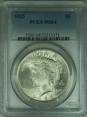 1923 Silver Peace Dollar $1 Coin PCGS MS-64 (12A)