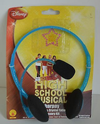 High School MUSICAL Sharpay Headset HSM Costume NEW Collect Blue Mic Tattoo