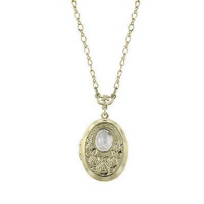 1928 Jewelry Frosty Rose Button Brass Vintage Locket Necklace