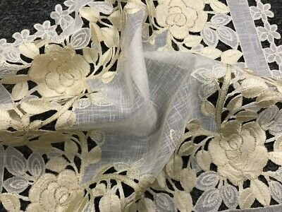 """54x54"""" Square Beige Color Embroidery Satin Fabric Cutwork Tablecloth Embroidered"""