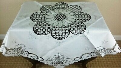 """Embroidered Cut work Fabric Gray Embroidery Tablecloth 36"""" Square Coffee Table"""