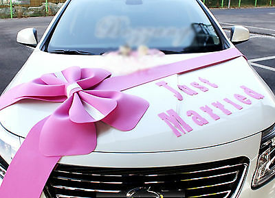 Wedding car Decorations kit Big Ribbons Pink bows Letter banner Decorations