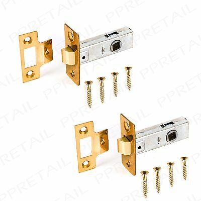 "2 x QUALITY SOLID BRASS 2.5"" MORTICE TUBULAR LATCH Interior Door Catch Handle"