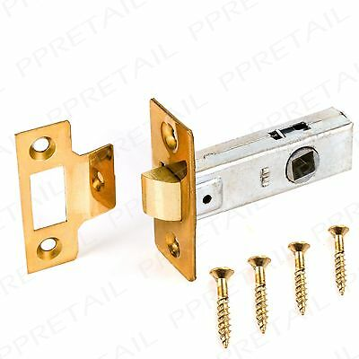 "SOLID BRASS MORTICE TUBULAR LATCH 64mm/2.5"" Door Catch Handle Internal/Interior"