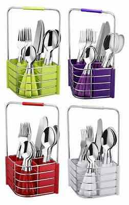 16pcs Cutlery Set With Cutlery Holder Caddy Kitchen Tableware Dining Utensils