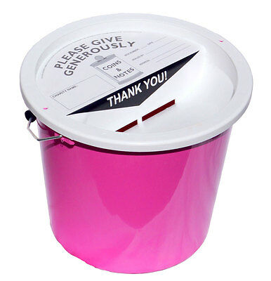 10 Charity Fundraising Money Collection Buckets 5.7 Litres - Pink