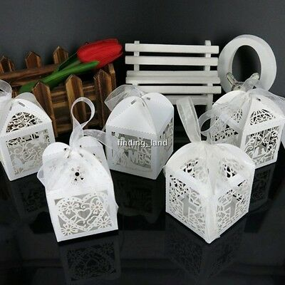 WHITE Wedding Favours Sweets Cake Candy Gift Boxes - 16 designs -12/25/50/100pcs
