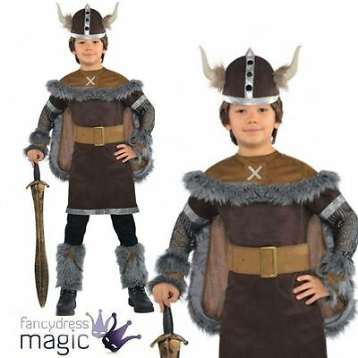 Child Boys Viking Warrior Saxon Book Week Fancy Dress Costume With Helmet Outfit