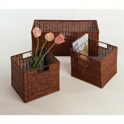 Winsome 1 Large and 2 Small Wired Baskets in Antique Walnut