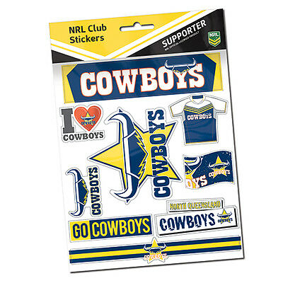 Official NRL North Queensland Cowboys Deluxe Club Stickers Sticker Sheet Pack