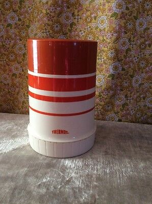 Vintage Thermos Orange White Striped Lunches Lunchboxes 70F King Seeley