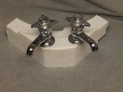 Vtg Pr Chrome Hot Cold Faucets Spring Loaded Handles Old Central Plumbing 105-16