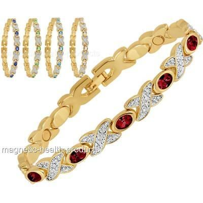 Ladies Magnetic Healing Bracelet Mixed Crystal Gold Bangle Arthritis Pain Relief