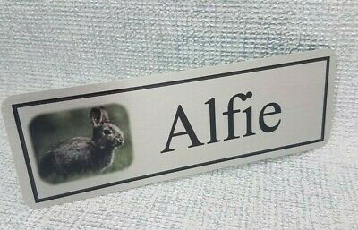 Personalised Rabbit Hutch Cage Door Name Plaque Sign with Picture and any Name
