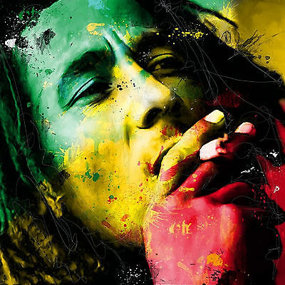 Bob Marley Face Colourful Abstract WALL ART CANVAS FRAMED OR POSTER PRINT