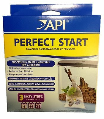 Api Perfect Start Pack Clean Aquarium Fish Tank Salt Tap Safe Stress Coat & Zyme
