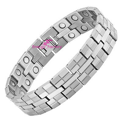 Mens Unisex 4in1 STRONG Titanium Magnetic Bracelet Ladies ARTHRITIS PAIN RELIEF