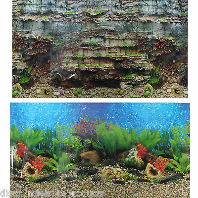 "24""/60cm Aquarium Freshwater Planted Fish Tank & Rock Background #N"