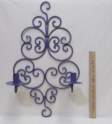 Wrought Iron Candle Holder Purple Taper Candlestick Wall Hanging Sconce Vintage