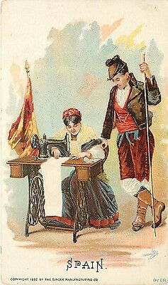 1892 Singer Sewing Machine Chromolitho Trade Card Couple Costume Spain Corunna