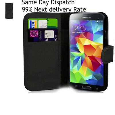 New Stylist Black PU leather Phone Book wallet Case Cover For Samsung Galaxy S6