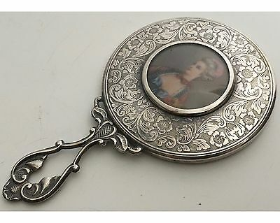 Antique Fancy Silver Plated Danish Engraved Hand Mirror with Portrait