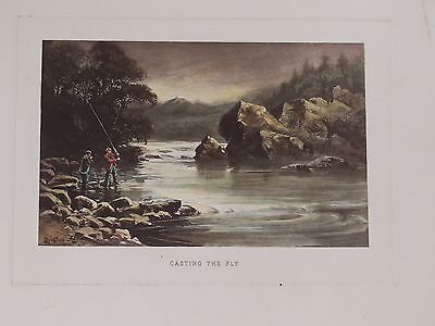 "Fishing print - ""Casting the Fly"" - hand-coloured antique engraving"