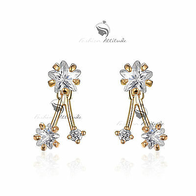 18k white yellow gold made with SWAROVSKI crystal star earrings mini ear jacket