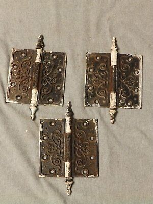 3 Large Antique Cast Iron 5x5 Door Steeple Point Hinges Old Vtg Hardware  121-16