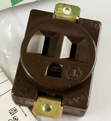 Vintage Hubbell-Bryant 5284 Single Panel Receptacle, 15a 125v, 5-15r, Brown NEW!