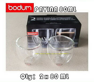 IN BOX BODUM PAVINA DOUBLE WALL CLEAR THERMO-GLASSES ESPRESSO CUPS x2 80ML