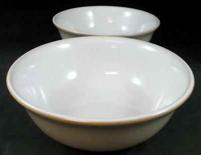 Denby LINEN 2 Soup/Cereal Bowls Off White Tan Edge GREAT CONDITION