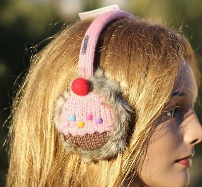 ADULT strawberry pink CUPCAKE EARMUFFS ear muffs -Hat & Mittens sold separate