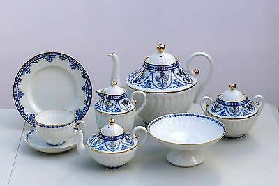 Tea set  COBALT FRIEZE twisted 23 pcs/6, Lomonosov Imperial Porcelain, Russia