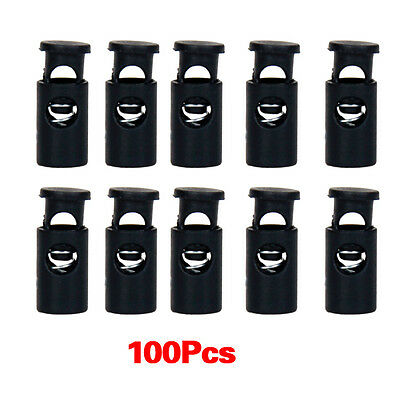 100pcs Black Cylinder Barrel Cordlock Cord Lock Toggles Stopper