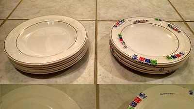 LOT 6 Arcoroc + 6 Arcopal FRANCE Salad Plates 7.75  BURGANDY TRIM / BAND NEW