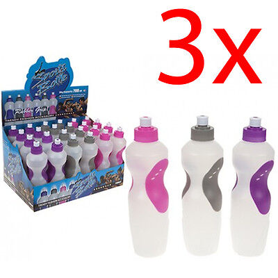3 X Super Grip Sports Bottle Hydration Water Cycling Hiking Bpa Free Fitness New