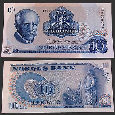 Norway Norwegen 10 Kroner 1977 Unc.Pick/KM:36c #