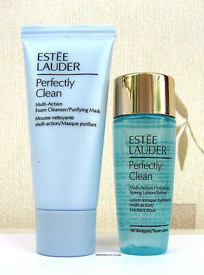 Estee Lauder Perfectly Clean Cleanser 50ml & Toner Lotion/Refiner 30ml  Set  New