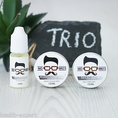 Mo Bro's Beard  & Moustache Essential Trio Balm, Wax & Oil - Unscented